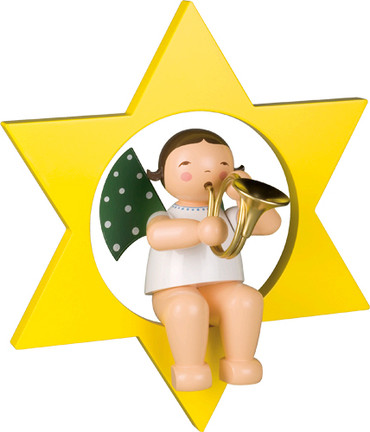 772-17 Angel with French Horn in Star Large from Wendt and Kuhn