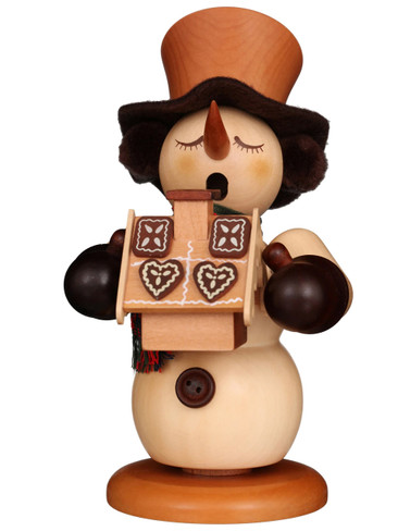 1-063 Ulbricht Incense Burner Snowman with Ginger Bread House Smoker