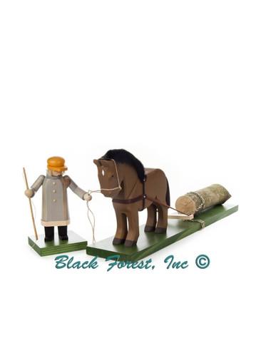 146-100-1 Woodsman with Horse and Log Erzgebirge Incense Burner Smoker