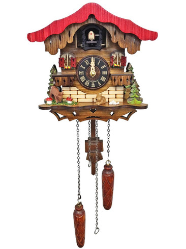 454QM Quartz Chalet with Deer and Bunny Musical Cuckoo Clock