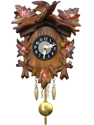 125-6QP Quartz Carved Painted Miniature Clock