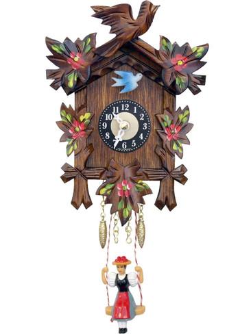 126-6SQ Quartz Carved Swinging Girl Miniature Clock