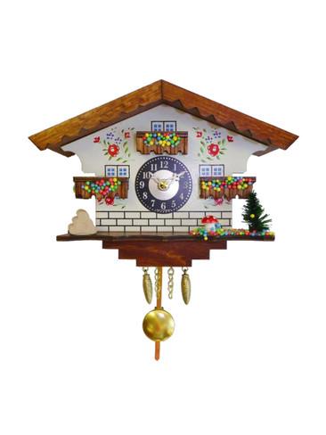0183QP White Quartz Pendulum with Sound Miniature Clock