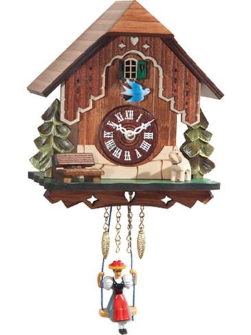 0186SQ Chalet Quartz Swinging Lady with Sound Miniature Clock