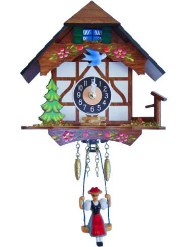 0191SQ White Quartz Swinging Lady with Sound Miniature Clock