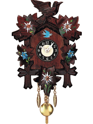 0126-10QP Quartz Carved with Flowers Chiming Miniature Clock