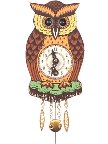 201 Key Wind Mechanical Owl Pendulum Miniature German Clock
