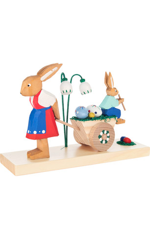 225-063 Easter Bunny Rabbits with cart from Germany