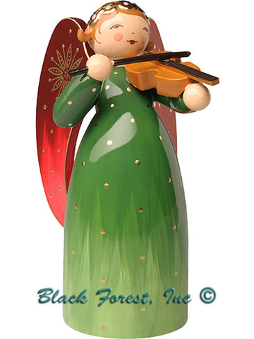 553-2RGruen Wendt and Kuhn Angel Richly Painted Green with Violin