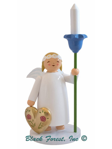634-5-K Wendt and Kuhn Marguerite Angel with Heart and Wood Candle