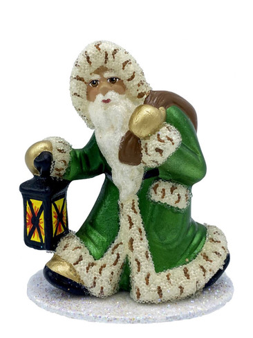 20580 Santa with Lantern and Green Coat Schaller Paper Mache Candy Container