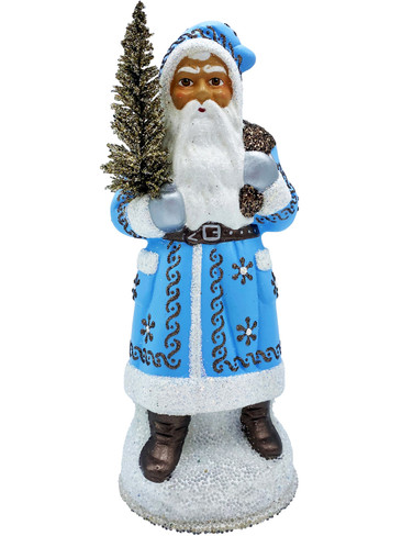 19241 Santa with Tree and Light Blue Coat Schaller Paper Mache Candy Container