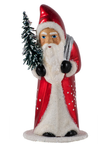 1613 Santa with Tree and Red Coat Schaller Paper Mache Candy Container