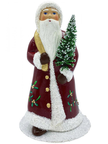 2022S Santa with Tree and Red Coat Swarovski and Mistletoe Schaller Paper Mache Candy Container