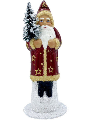 2015 Santa with Tree and Red Coat with Stars Schaller Paper Mache Candy Container