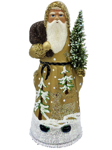12020 Santa with Tree and Gold Coat Schaller Paper Mache Candy Container
