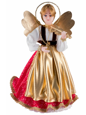 305-iii-R Bavarian Tree Topper Wax Angel