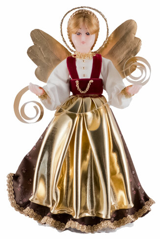 310-III-GR Bavarian Tree Topper Wax Angel