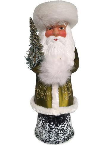 9311 Russian Santa Green Schaller Paper Mache Candy Container