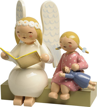 634-10-1 Wendt and Kuhn Marguerite Angel on Bench with Girl