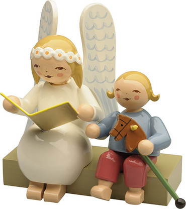 634-10-2 Wendt and Kuhn Marguerite Angel on Bench with Boy