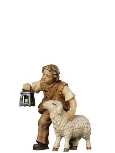 801015 Boy with Sheep Painted Kostner Nativity from Pema in Italy