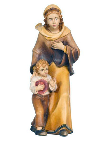 801017 Lady with Boy Painted Kostner Nativity from Pema in Italy