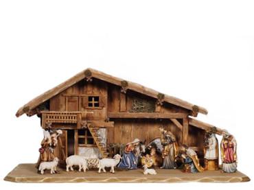 801726 Set 14 pcs Painted Kostner Nativity from Pema in Italy