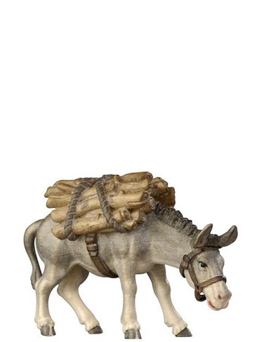 801185 Donkey Carrying Wood real Wood Painted Kostner Nativity from Pema in Italy