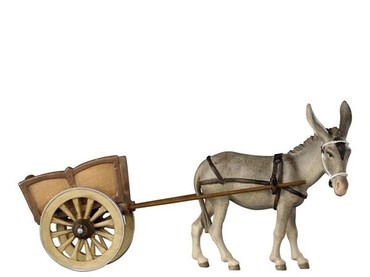 801187 Donkey with Cart real Wood Painted Kostner Nativity from Pema in Italy