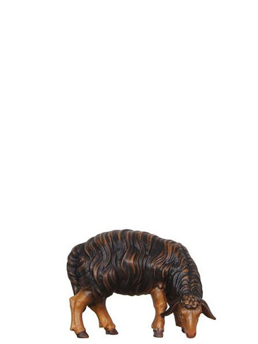801257S Black Sheep Grazing Right Real Wood Painted Kostner Nativity from Pema in Italy
