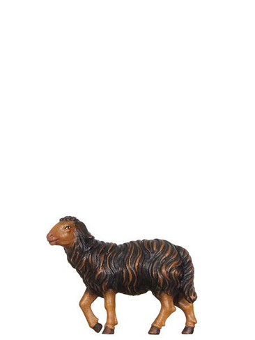 801259S Black Sheep Standing Real Wood Painted Kostner Nativity from Pema in Italy