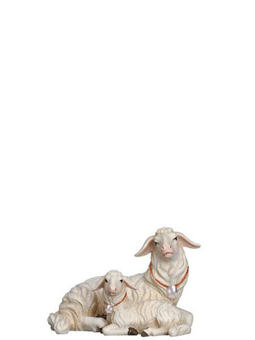 801272 Sheep Lying with Lamb Real Wood Painted Kostner Nativity from Pema in Italy