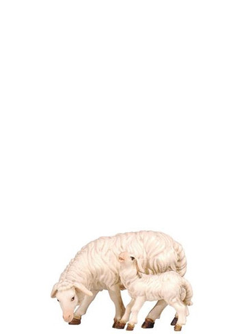 801274 Sheep Grazing with Lamb Real Wood Painted Kostner Nativity from Pema in Italy