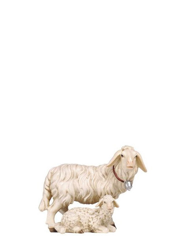 801276 Sheep with Lying Lamb Real Wood Painted Kostner Nativity from Pema in Italy