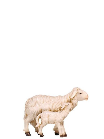 801279 Sheep with Standing Lamb Real Wood Painted Kostner Nativity from Pema in Italy