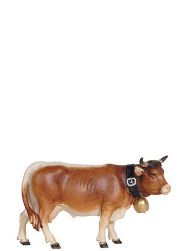 801041 Cow looking Right Real Wood Painted Kostner Nativity from Pema in Italy