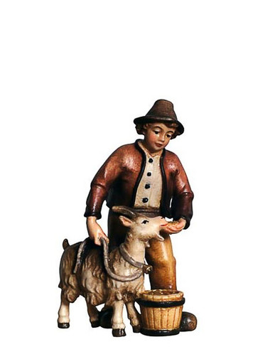 801016 Boy with Goat Painted Kostner Nativity from Pema in Italy