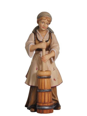 801021Shepherdess with Butter Churn Painted Kostner Nativity from Pema in Italy