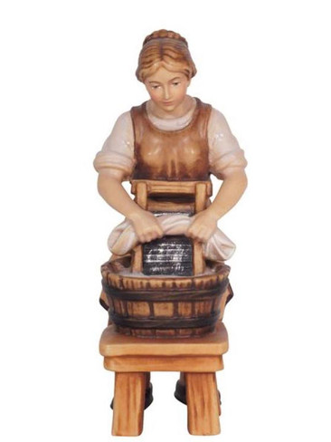 801025 Lady Doing Laundry Real Wood Painted Kostner Nativity from Pema in Italy