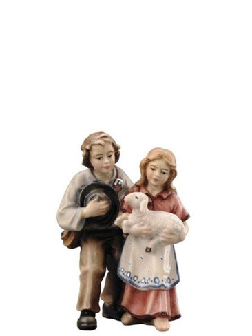 801027 Pair of Children Real Wood Painted Kostner Nativity from Pema in Italy