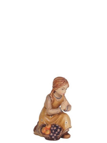 801028 Girl Kneeling Painted Kostner Nativity from Pema in Italy