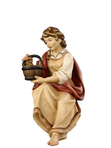 801031 Shepherdess for Well Real Wood Painted Kostner Nativity from Pema in Italy