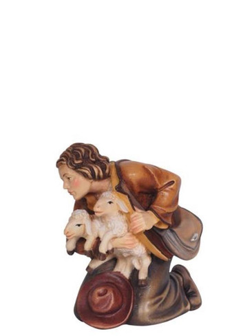 801034 Shepherd Kneeling with Lambs Real Wood Painted Kostner Nativity from Pema in Italy