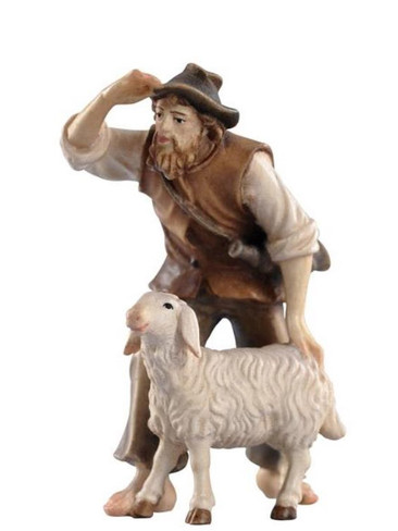 801035 Shepherd with Sheep Real Wood Painted Kostner Nativity from Pema in Italy