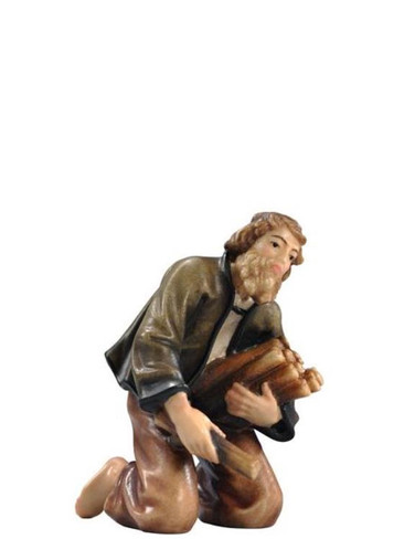 801036 Shepherd at camp fire Real Wood Painted Kostner Nativity from Pema in Italy