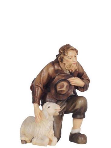801038 Shepherd Kneeling with Sheep Real Wood Painted Kostner Nativity from Pema in Italy