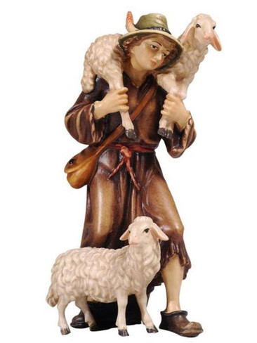 801046 Shepherd with Two Sheep Real Wood Painted Kostner Nativity from Pema in Italy