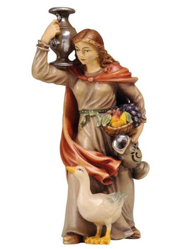 801047 Female Water Carrier Real Wood Painted Kostner Nativity from Pema in Italy