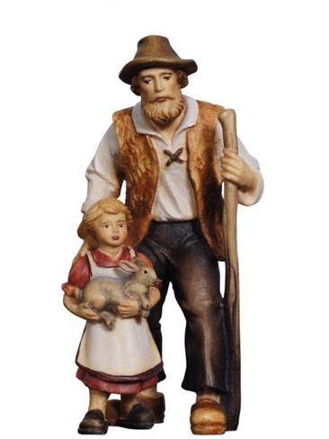 801048 Shepherd with Girl and Rabbit Real Wood Painted Kostner Nativity from Pema in Italy